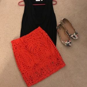 NWT red lace pencil skirt